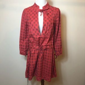 Madewell red checkered peasant dress size medium